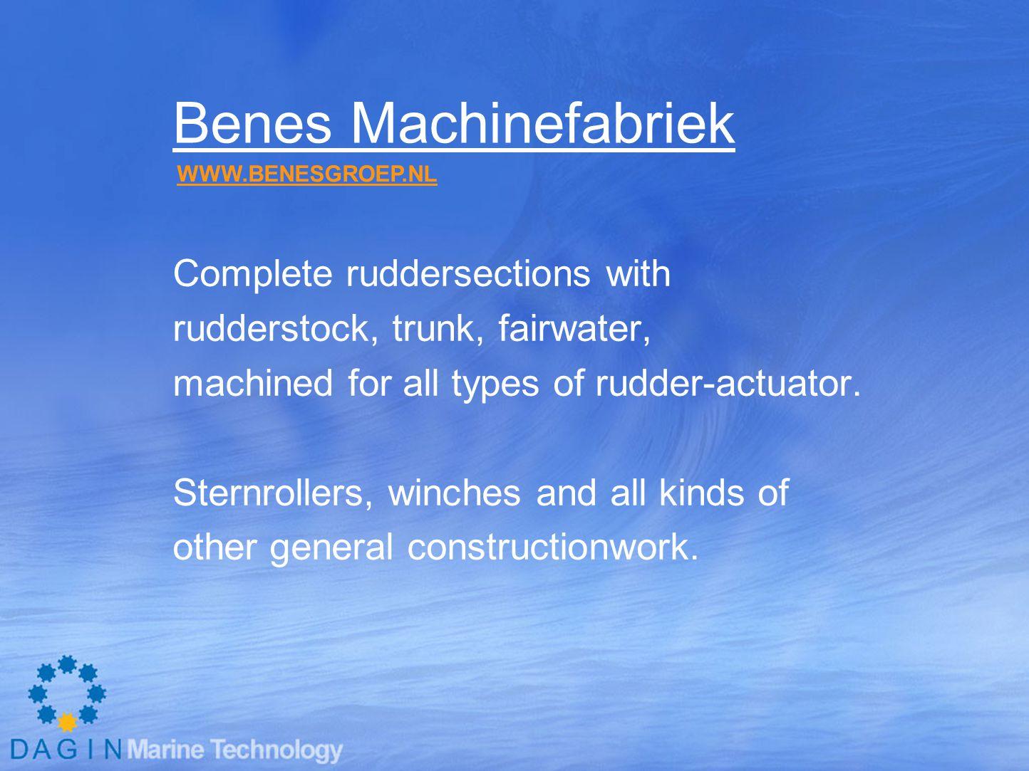 Benes Machinefabriek Complete ruddersections with