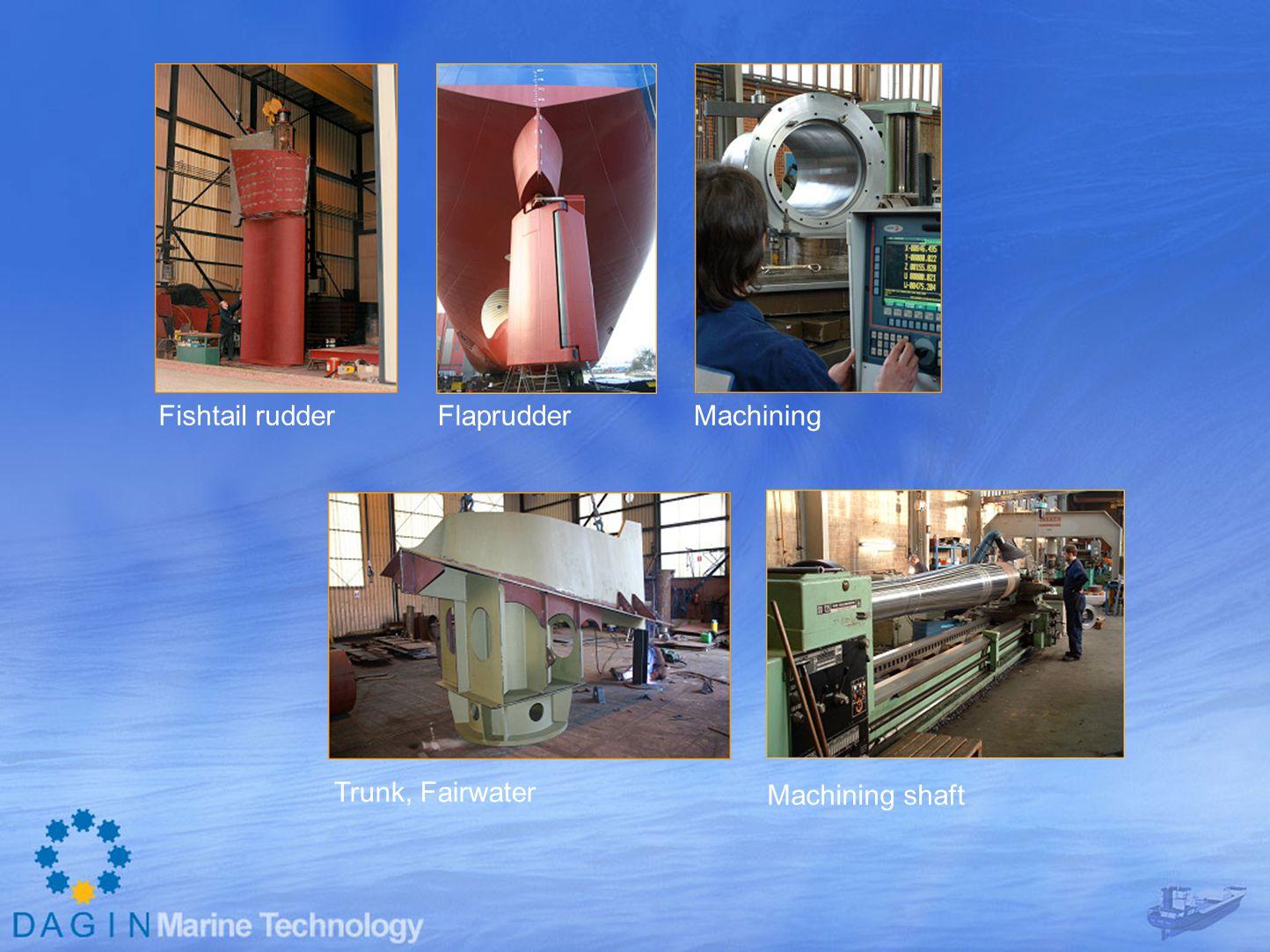 Fishtail rudder Flaprudder Machining Trunk, Fairwater Machining shaft