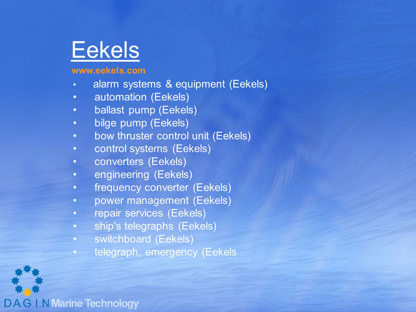 Eekels automation (Eekels) ballast pump (Eekels) bilge pump (Eekels)