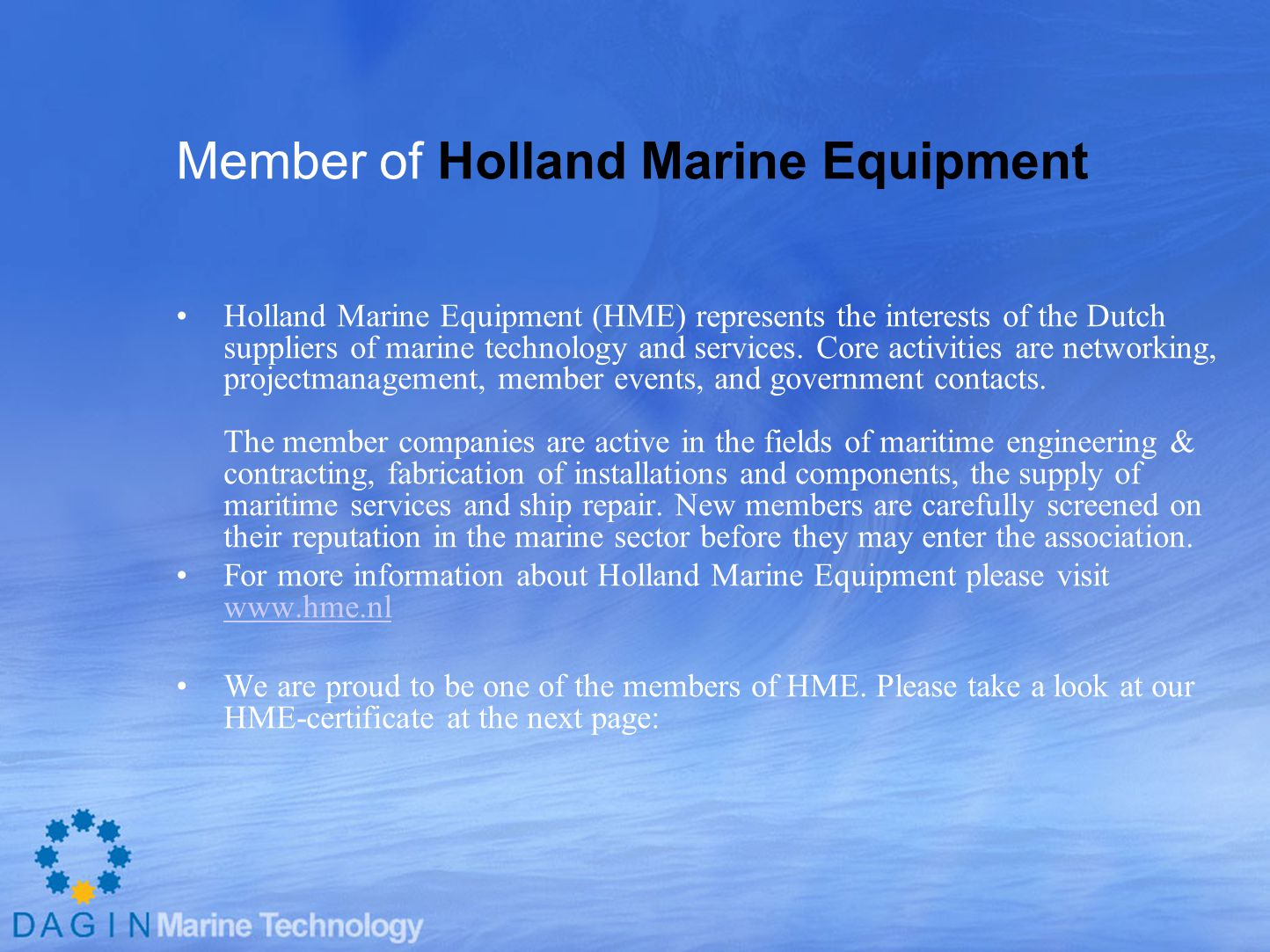 Member of Holland Marine Equipment