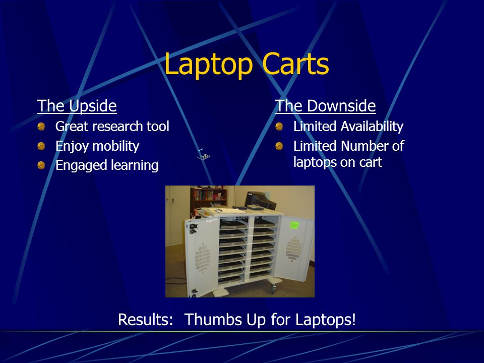 Laptop Carts The Upside The Downside Results: Thumbs Up for Laptops!