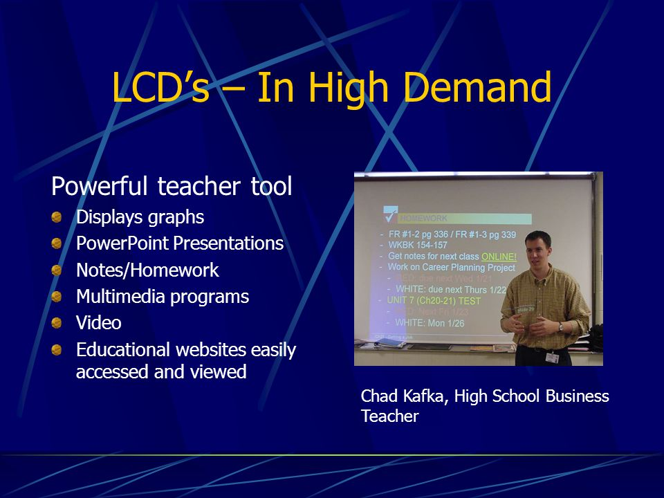 LCD's – In High Demand Powerful teacher tool Displays graphs