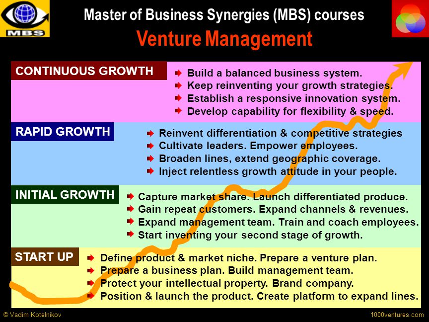 Master of Business Synergies (MBS) courses Venture Management