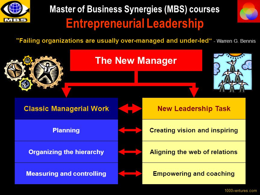 Master of Business Synergies (MBS) courses Entrepreneurial Leadership