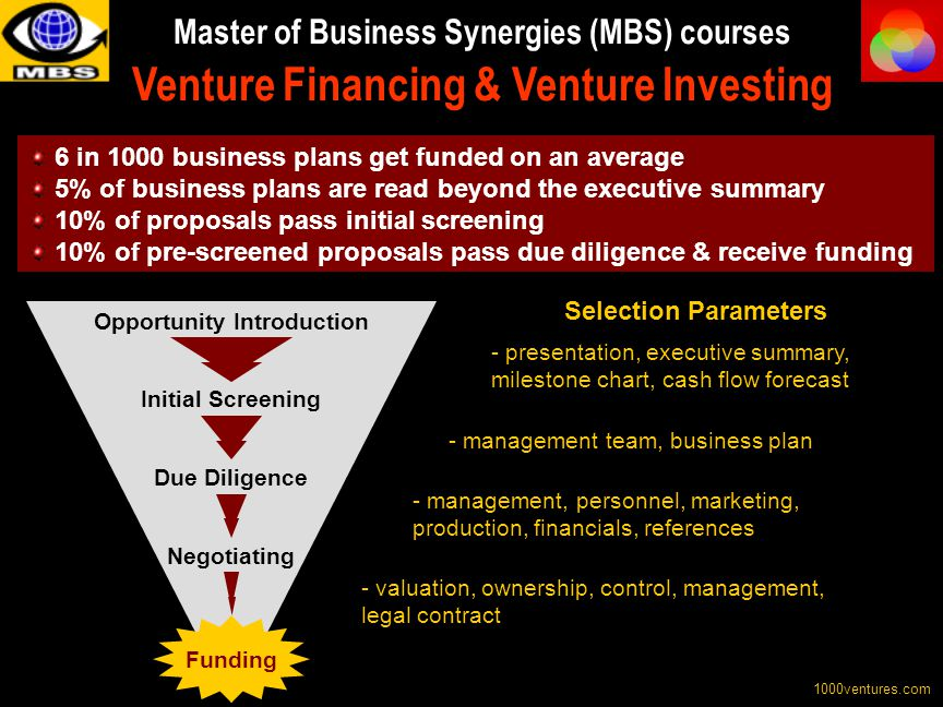 Master of Business Synergies (MBS) courses Venture Financing & Venture Investing