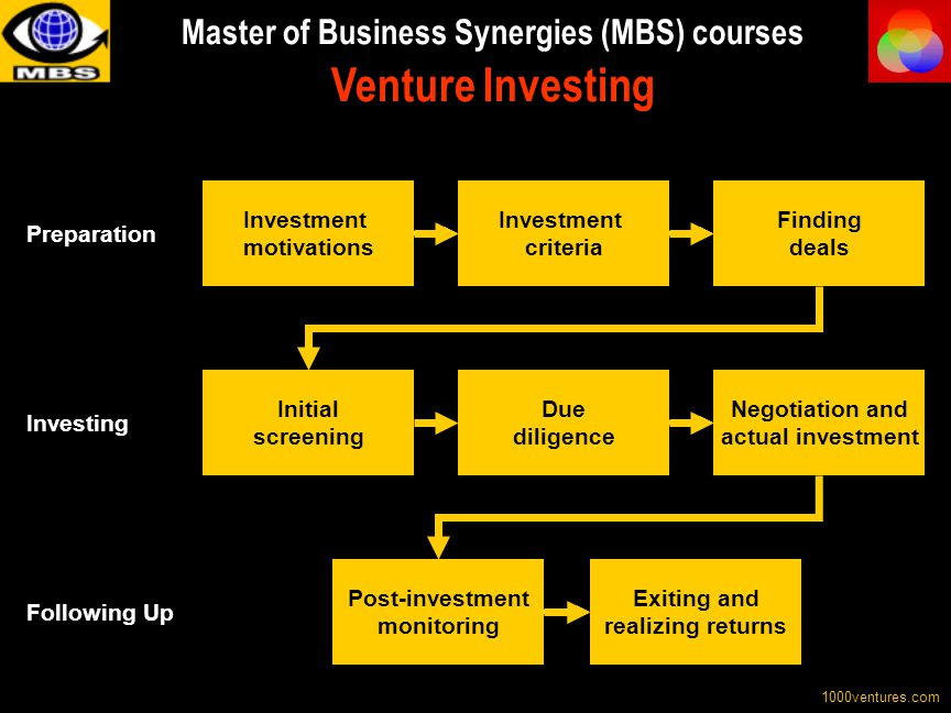 Master of Business Synergies (MBS) courses Venture Investing