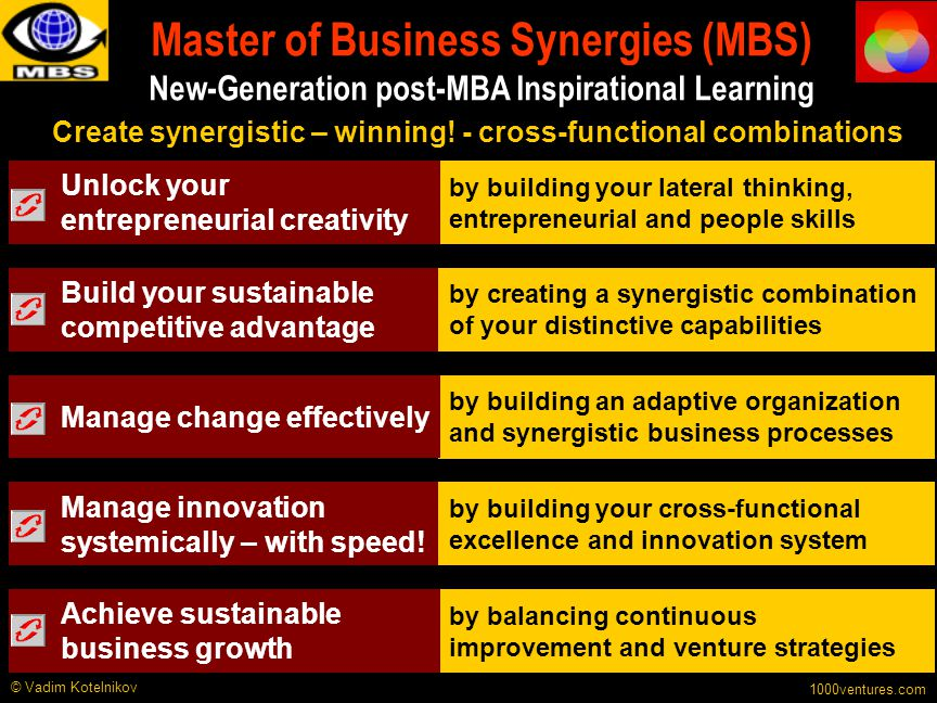 Master of Business Synergies (MBS) New-Generation post-MBA Inspirational Learning