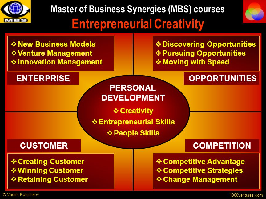 Master of Business Synergies (MBS) courses Entrepreneurial Creativity