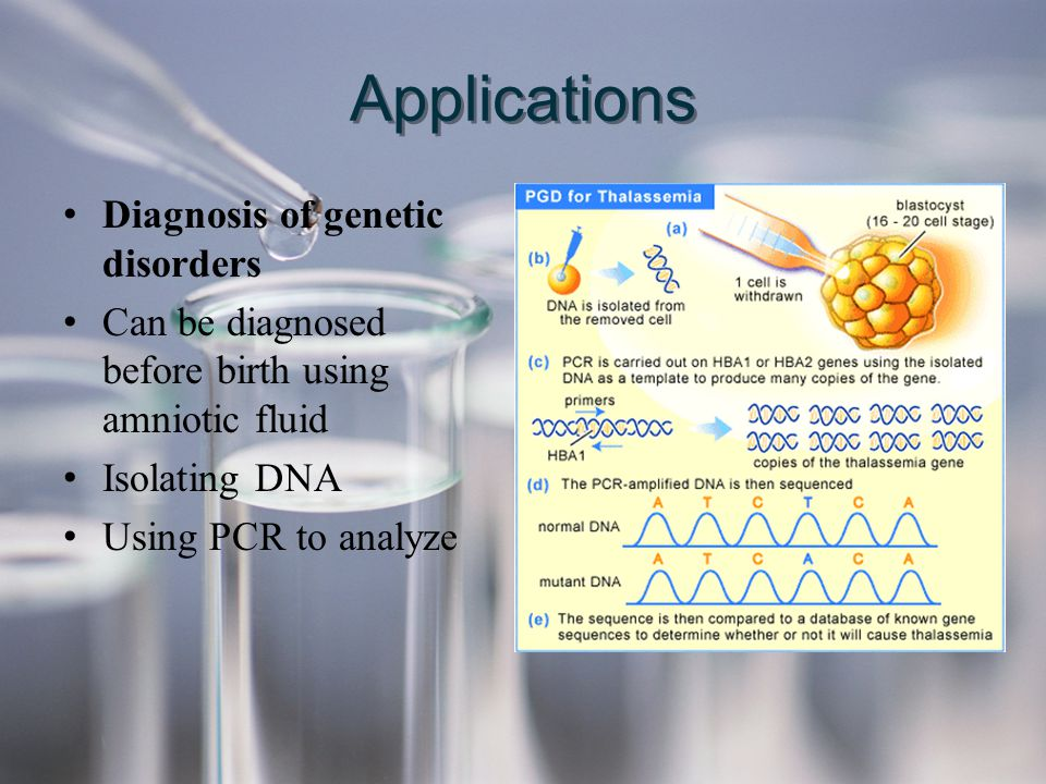 Applications Diagnosis of genetic disorders