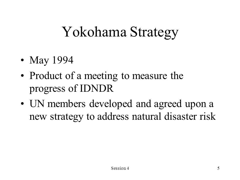 Yokohama Strategy May 1994. Product of a meeting to measure the progress of IDNDR.