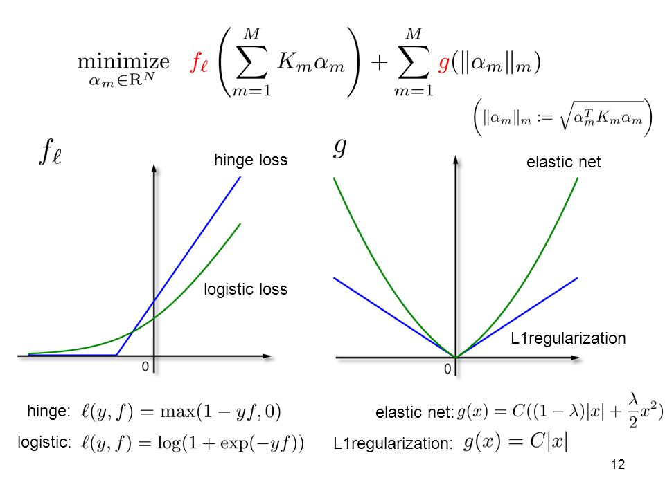 hinge loss elastic net. logistic loss. L1regularization.