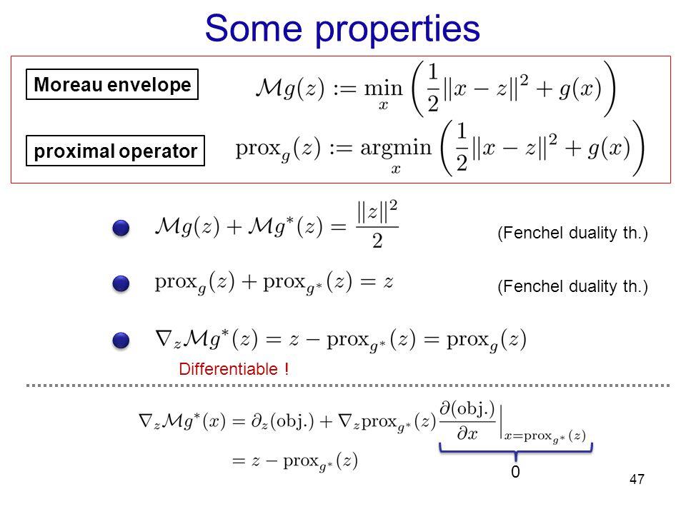 Some properties Moreau envelope proximal operator