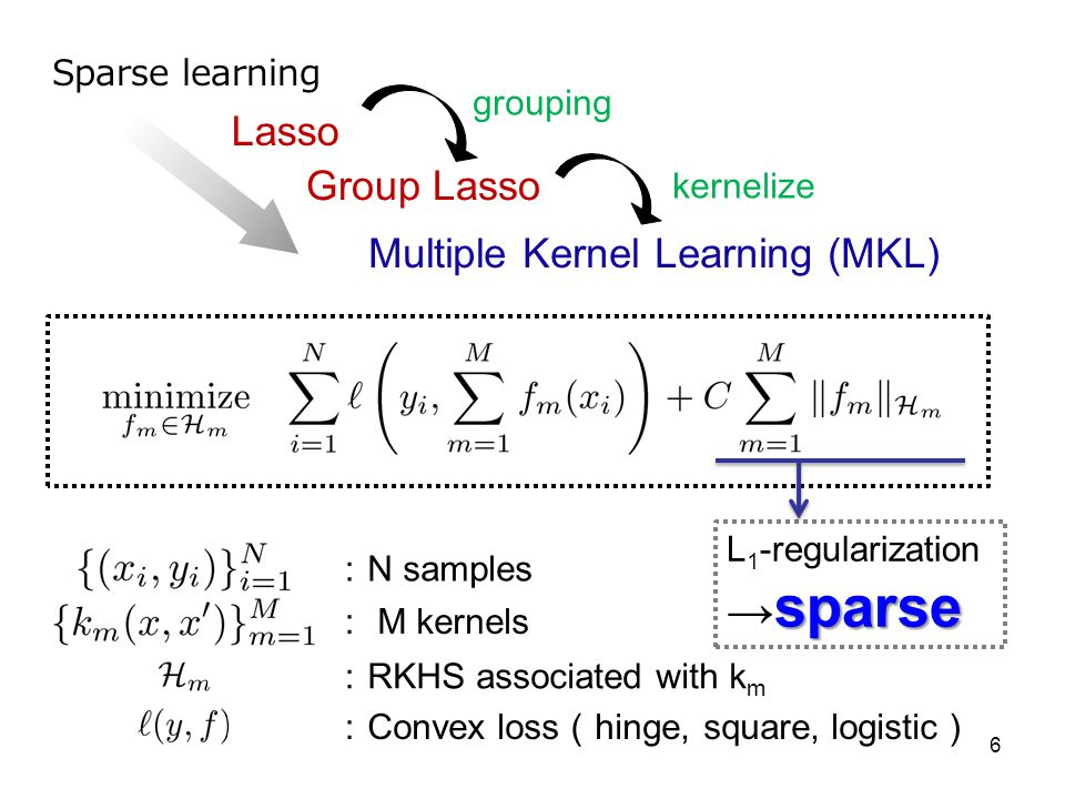 →sparse Lasso Group Lasso Multiple Kernel Learning (MKL)