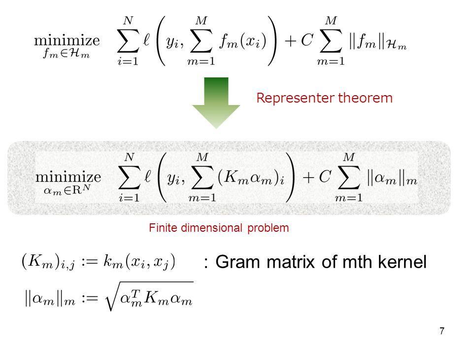 :Gram matrix of mth kernel