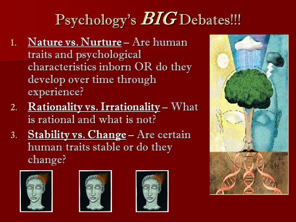 psychology nature vs nurture A person's attitudes and behaviors, as well as a propensity for certain health conditions, are often part of the nature versus nurture debate the roles of a person's chemical makeup and their environmental influences in forming attitudes and behaviors are debated under this argument other debates.