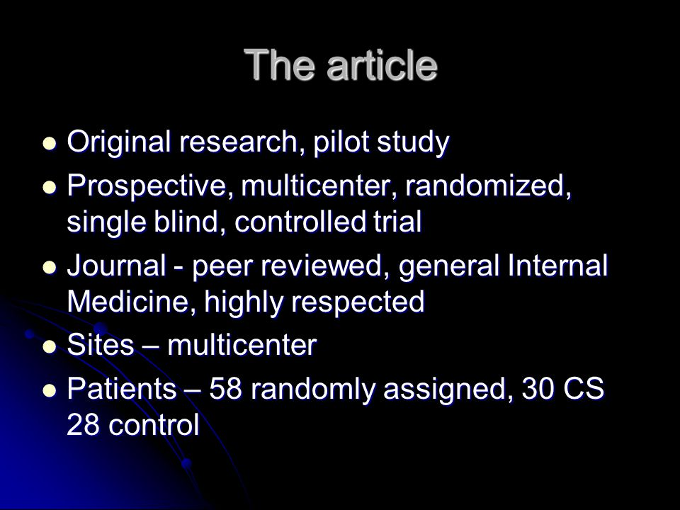 The article Original research, pilot study