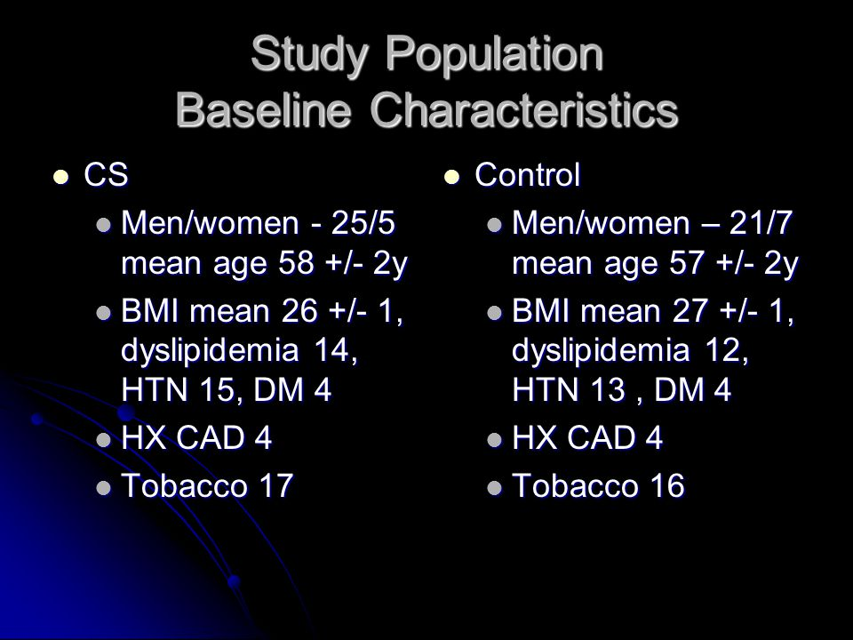 Study Population Baseline Characteristics