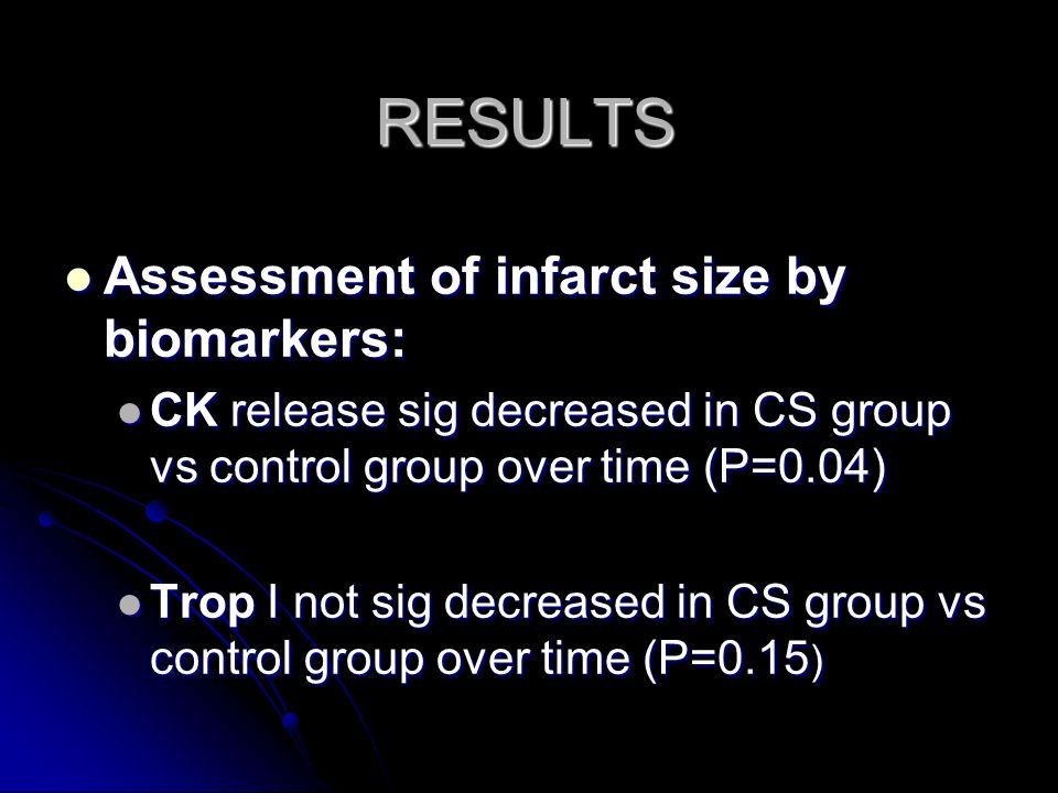 RESULTS Assessment of infarct size by biomarkers: