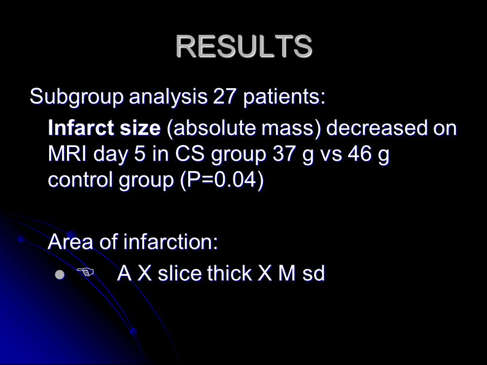 RESULTS Subgroup analysis 27 patients:
