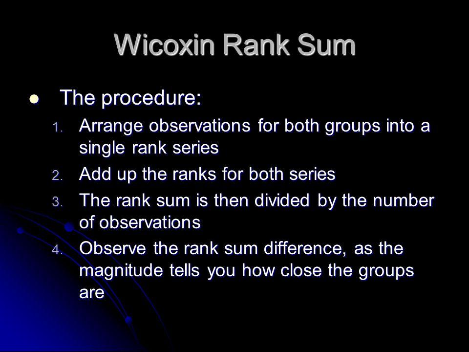 Wicoxin Rank Sum The procedure: