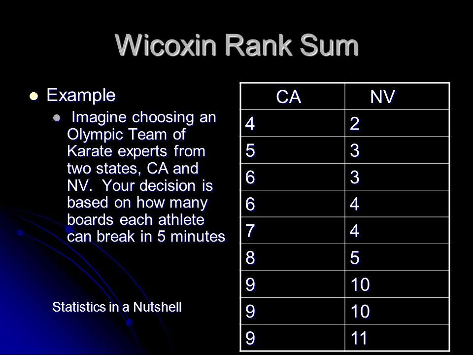 Wicoxin Rank Sum Example CA NV 4 2 5 3 6 7 8 9 10 11