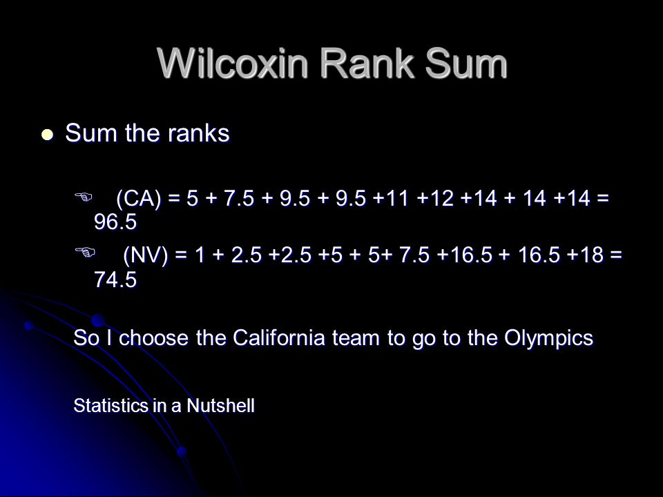 Wilcoxin Rank Sum Sum the ranks