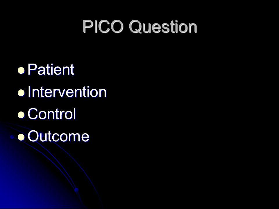 PICO Question Patient Intervention Control Outcome