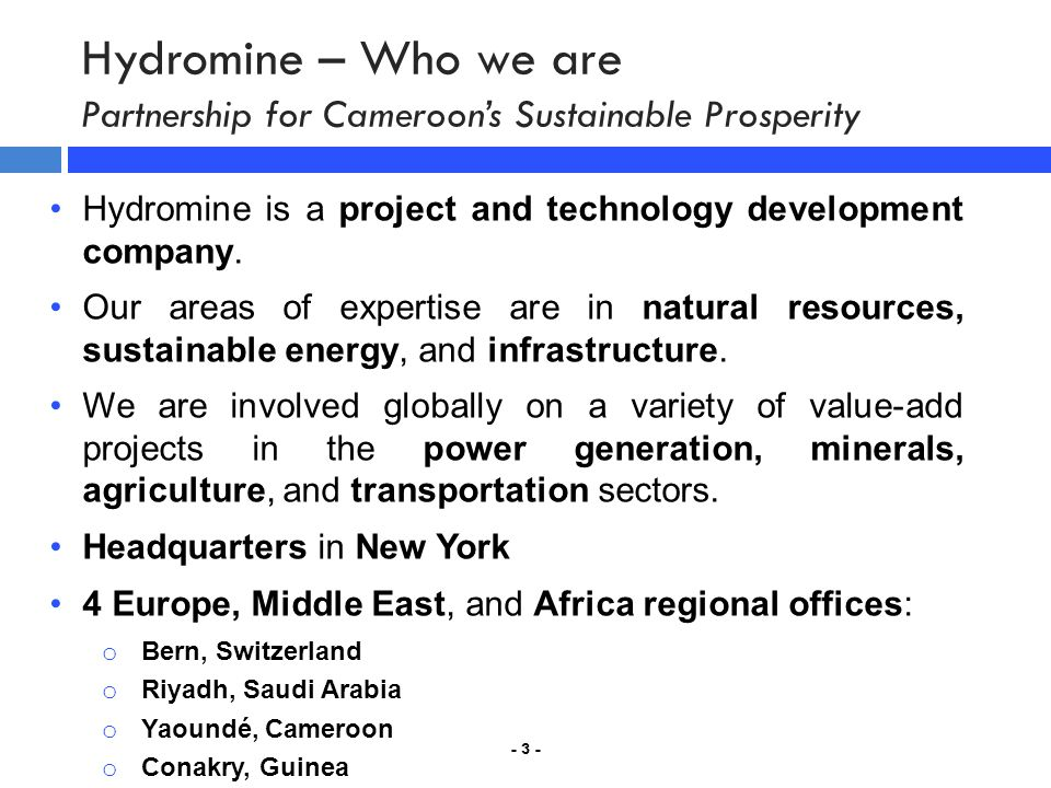 Hydromine – Who we are Partnership for Cameroon's Sustainable Prosperity