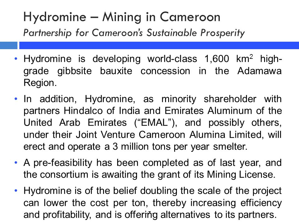 Hydromine – Mining in Cameroon Partnership for Cameroon's Sustainable Prosperity