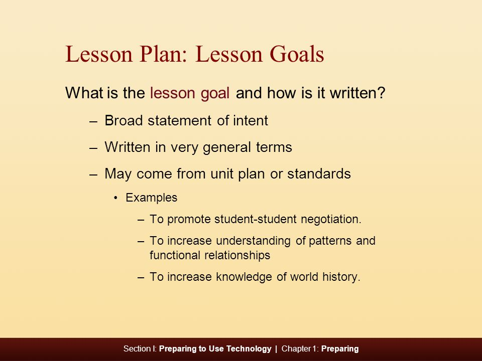 Lesson Plan: Lesson Goals