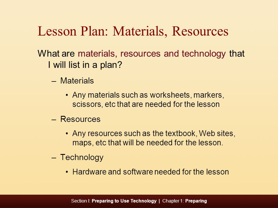 Lesson Plan: Materials, Resources