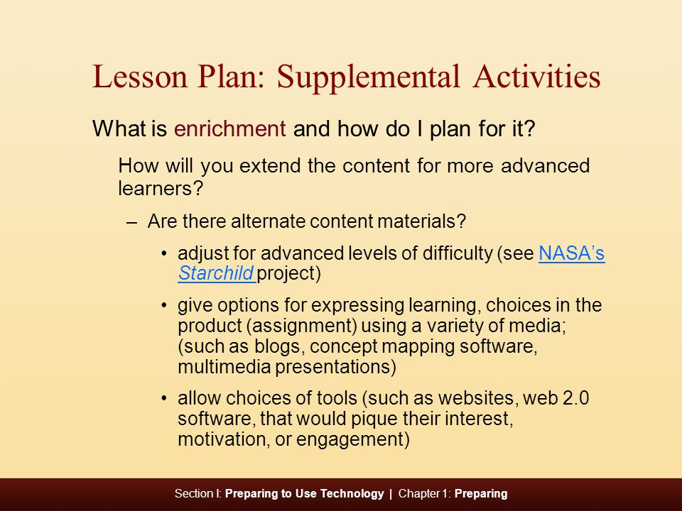 Lesson Plan: Supplemental Activities