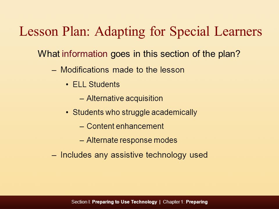 Lesson Plan: Adapting for Special Learners