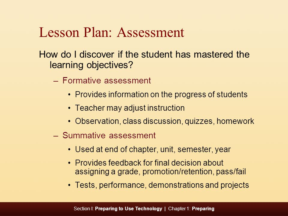 Lesson Plan: Assessment