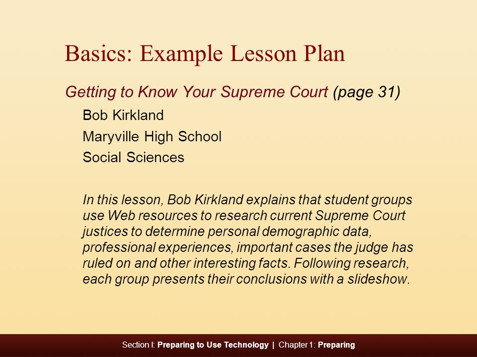Basics: Example Lesson Plan