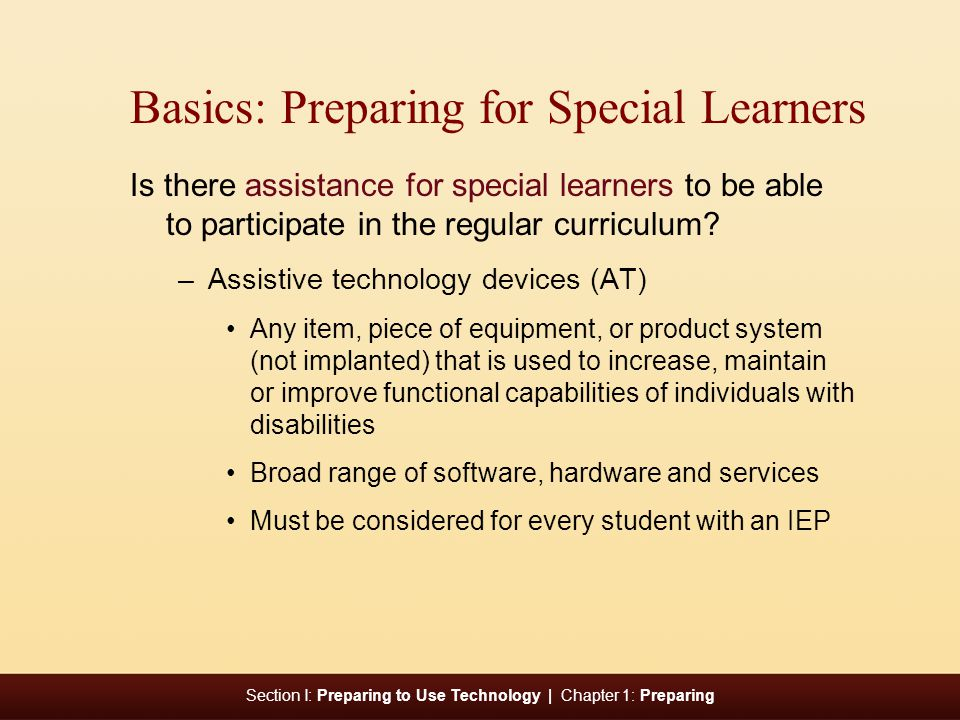 Basics: Preparing for Special Learners