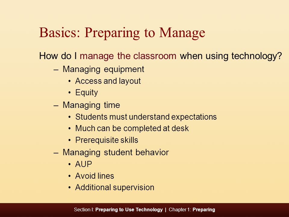 Basics: Preparing to Manage