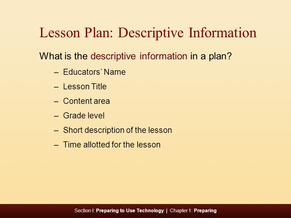 Lesson Plan: Descriptive Information