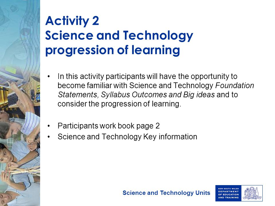 Activity 2 Science and Technology progression of learning