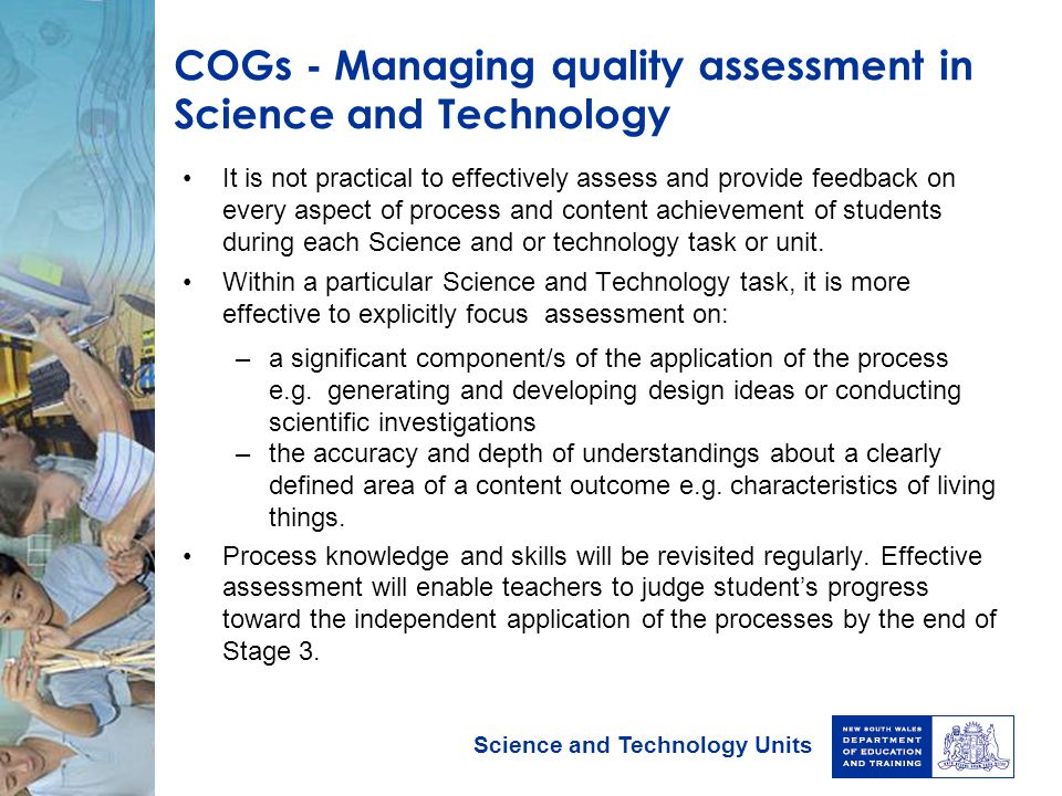 COGs - Managing quality assessment in Science and Technology