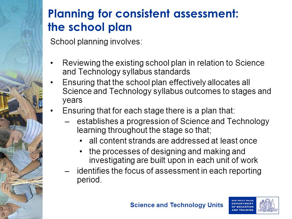 Planning for consistent assessment: the school plan