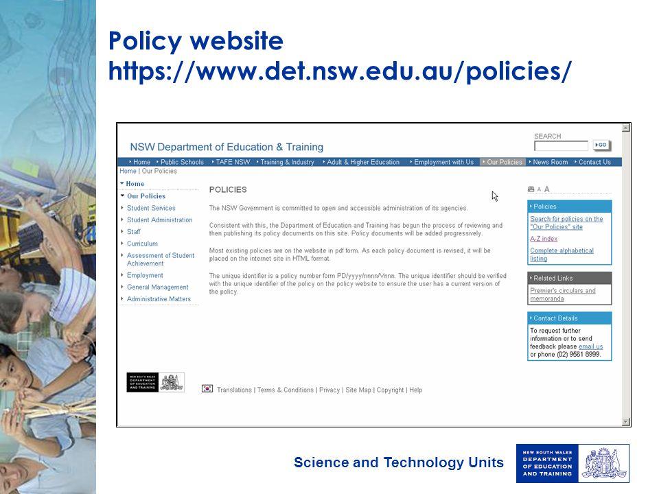 Policy website https://www.det.nsw.edu.au/policies/