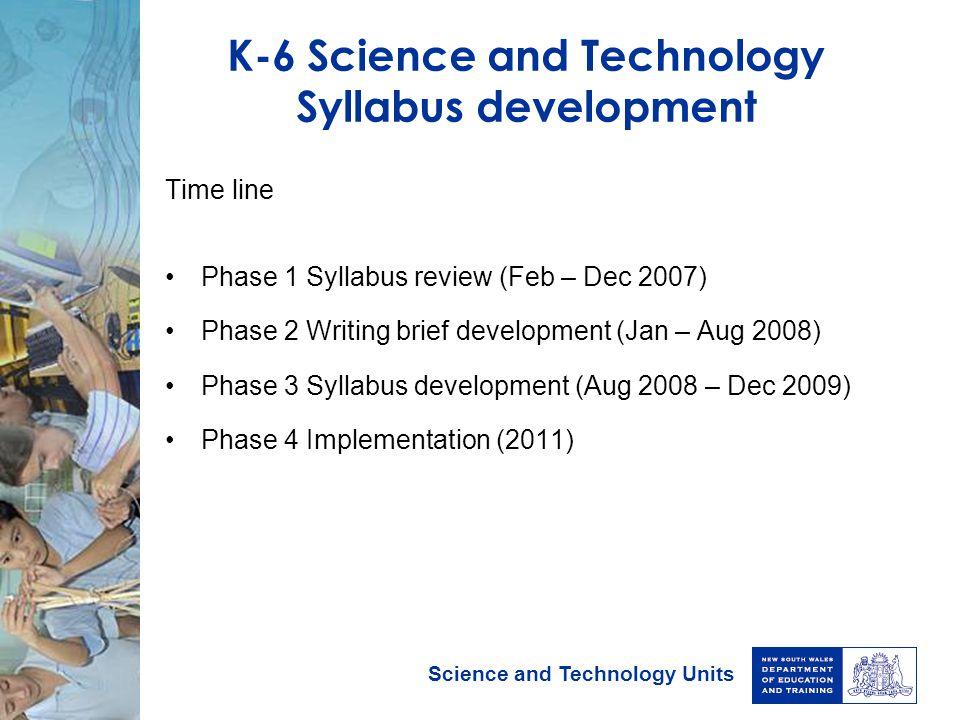 K-6 Science and Technology Syllabus development