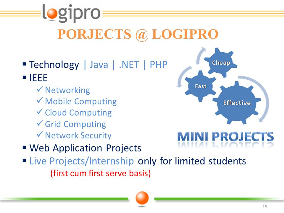 PORJECTS @ LOGIPRO Technology | Java | .NET | PHP IEEE