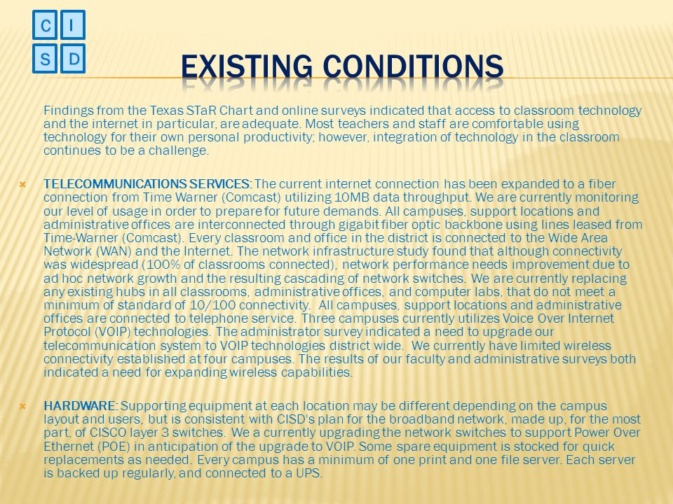 Existing Conditions C I S D