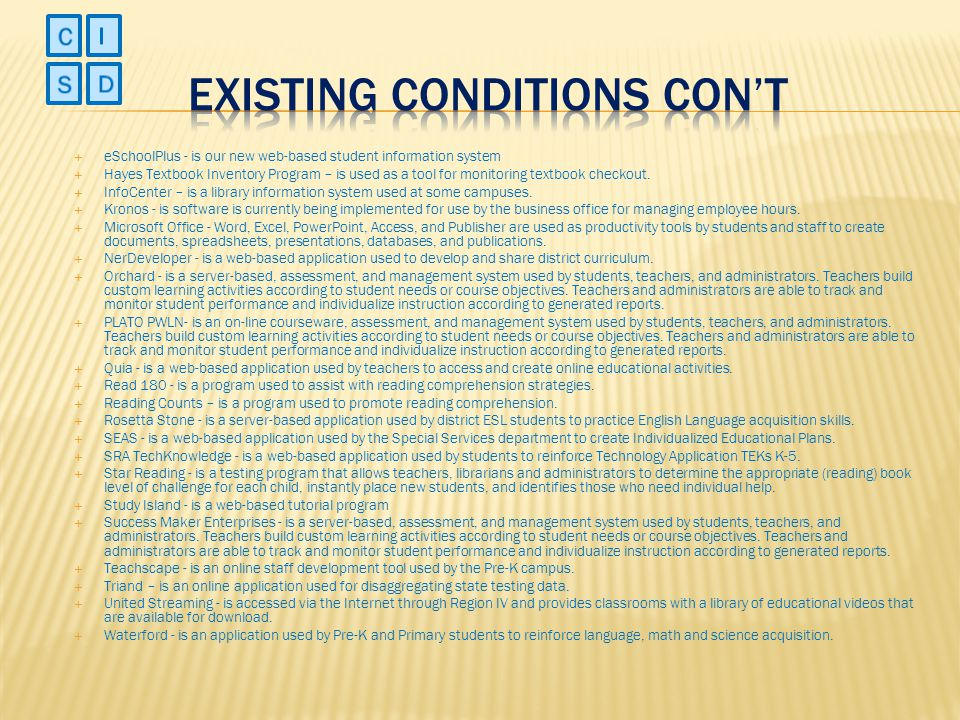 Existing Conditions Con't