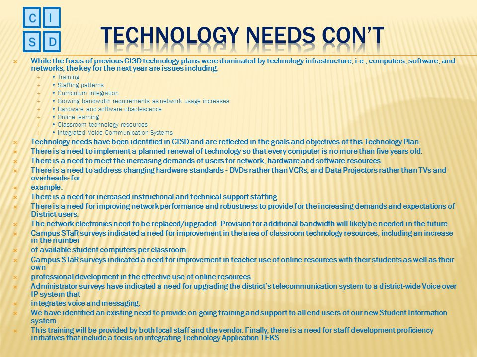 Technology needs con't