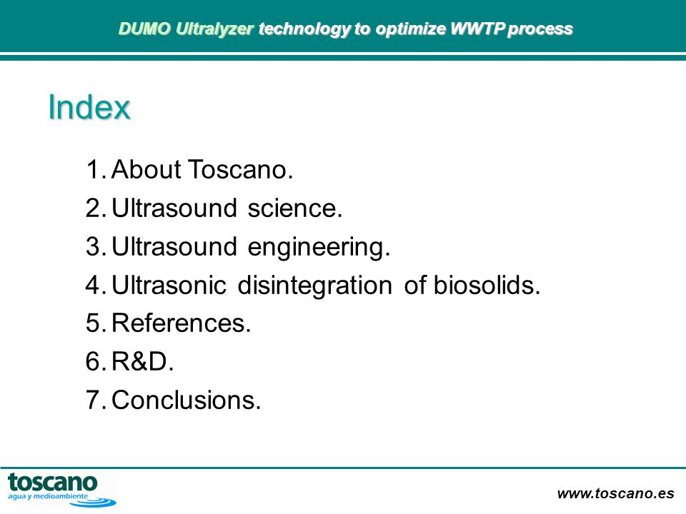 Index About Toscano. Ultrasound science. Ultrasound engineering.