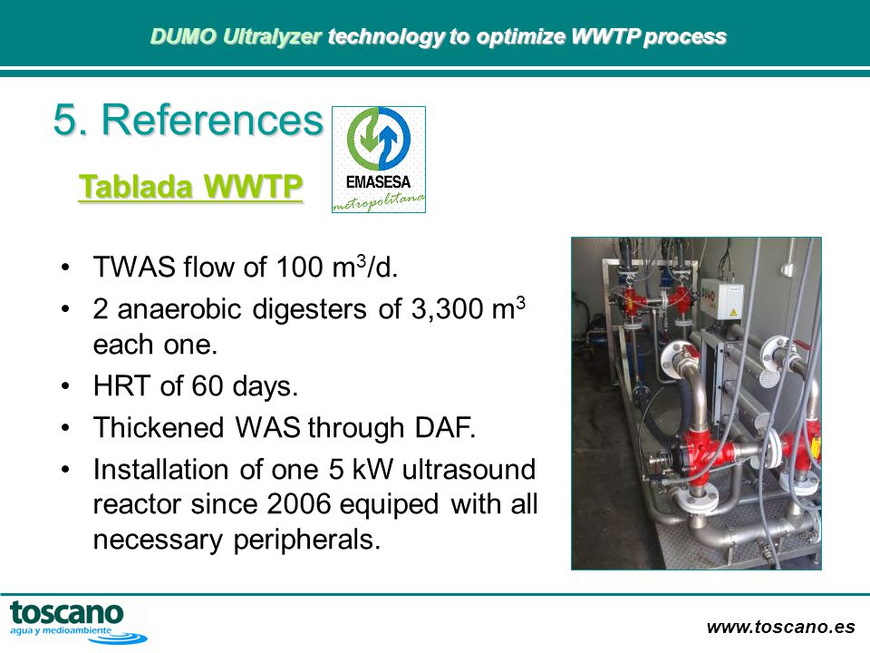 5. References Tablada WWTP TWAS flow of 100 m3/d.