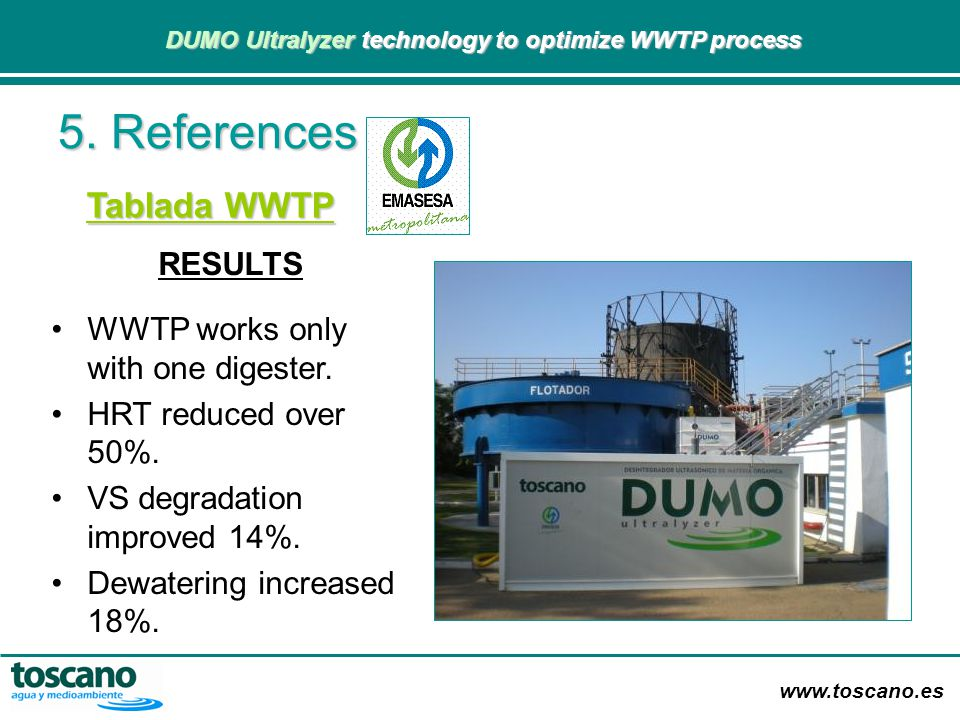 5. References Tablada WWTP RESULTS WWTP works only with one digester.
